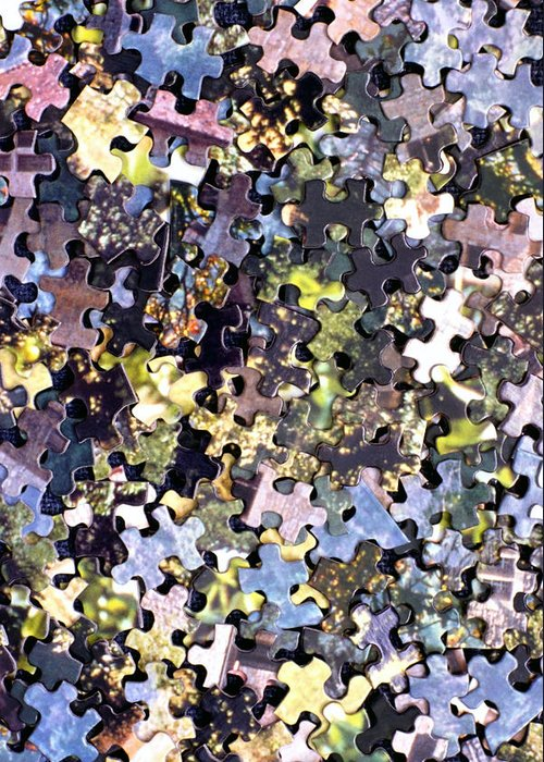 Puzzle Greeting Card featuring the photograph Puzzle Piece Abstract by Steve Ohlsen