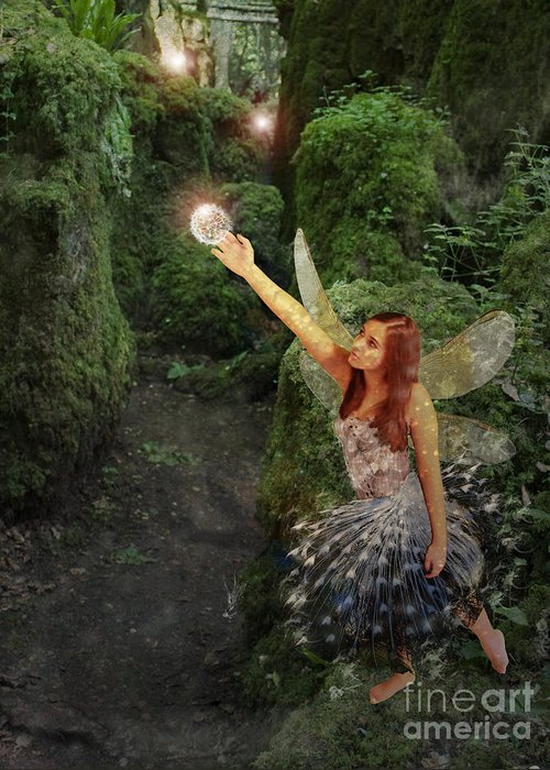 Fairy Greeting Card featuring the digital art Puzzlewood Fairy by Patricia Ridlon