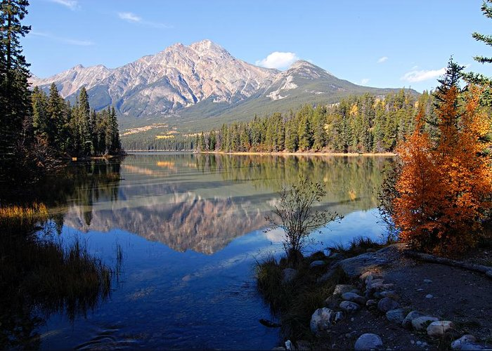 Pyramid Mountain Greeting Card featuring the photograph Pyramid Moutain Reflection by Larry Ricker