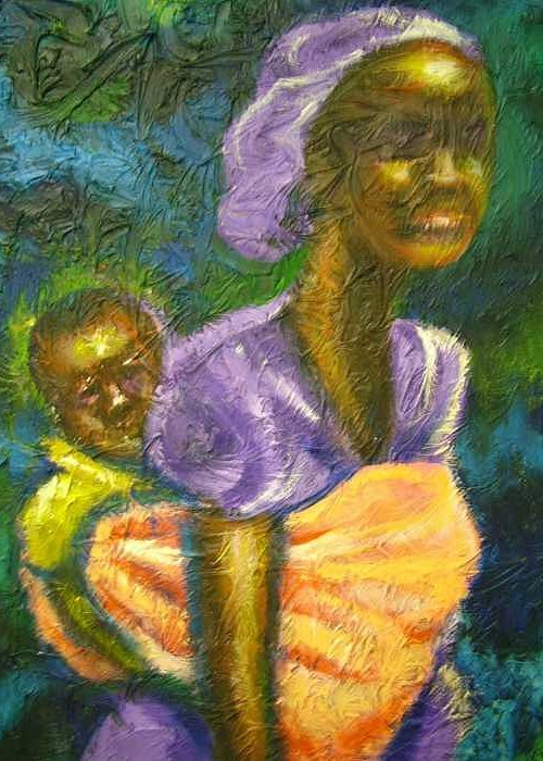 Mother And Child Greeting Card featuring the painting Q by Jan Gilmore