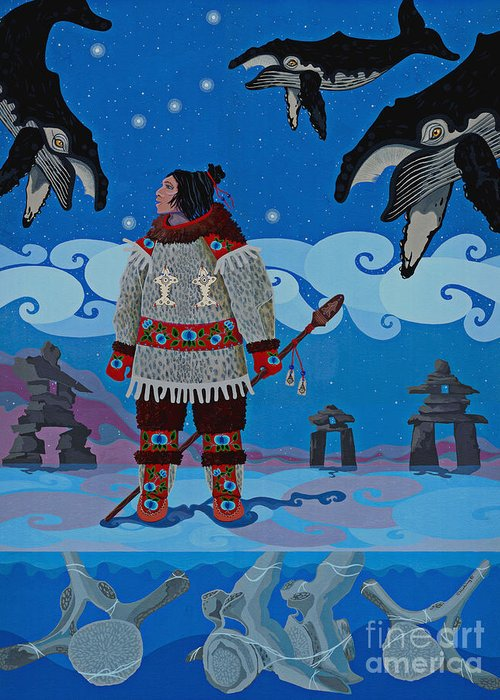 America Greeting Card featuring the painting Qikiqtaaluk Whale Dreamer by Chholing Taha
