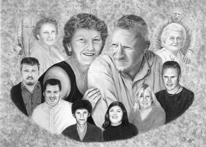 Family Portrait Greeting Card featuring the drawing Quade Family Portrait by Peter Piatt