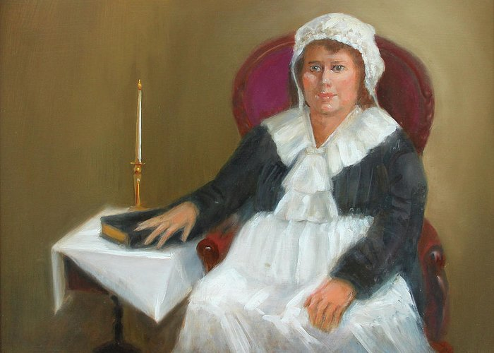 Quaker Greeting Card featuring the painting Quaker Lady by Marjorie Harris