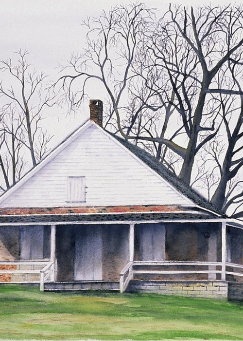 Quaker Greeting Card featuring the painting Quaker Meeting House by Tom Dorsz
