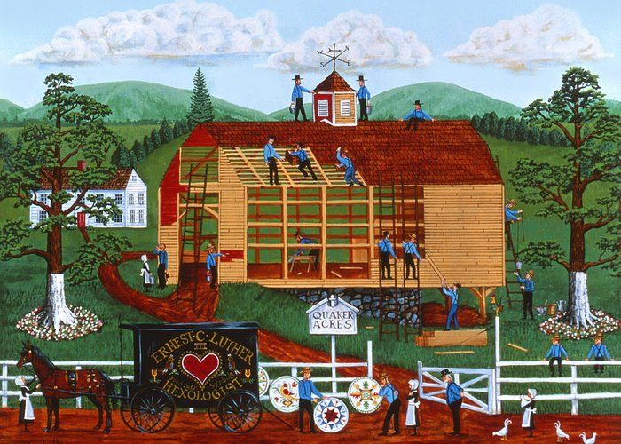 Joseph Holodook Greeting Card featuring the painting Quakers Acres by Joseph Holodook