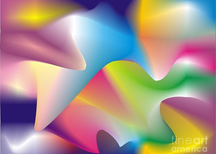 Abstract Greeting Card featuring the digital art Quantum Landscape 2 by Walter Oliver Neal