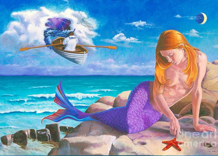 Surreal Greeting Card featuring the painting Quarter Moon by Lou Spina