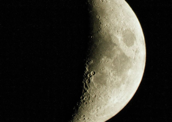 Moon Picture Greeting Card featuring the photograph Quarter Moon Photo By W G Smith by W G Smith
