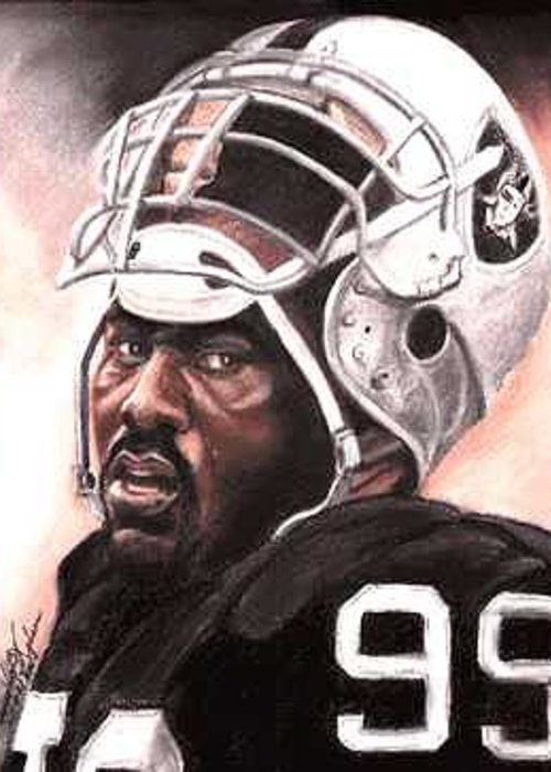 Portrait Greeting Card featuring the painting Quarterback Killer - Warren Sapp by Kenneth Kelsoe