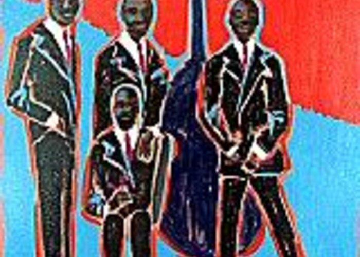 Jazz Quartet Portrait Greeting Card featuring the painting Quartet by Elizabeth Brightwell