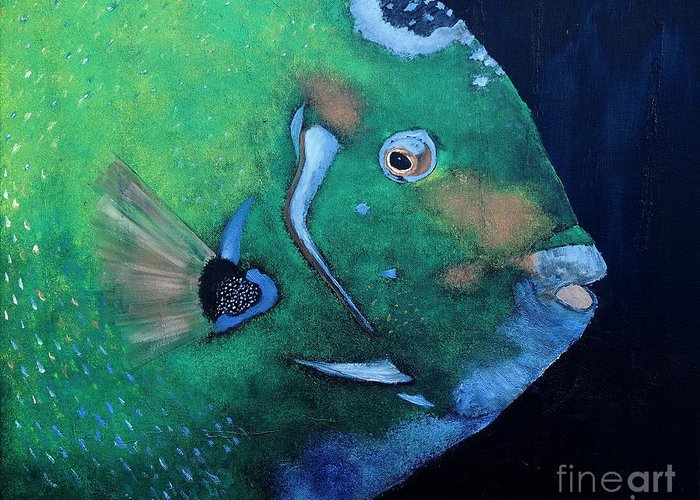Fish Greeting Card featuring the painting Queen Angelfish by Barbara Teller