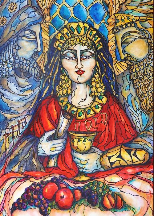 Original Art Greeting Card featuring the painting Queen Esther by Rae Chichilnitsky
