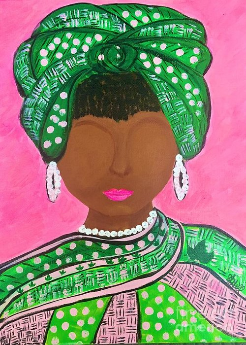 Pink And Green Greeting Card featuring the painting Queen Ivy by Sheila J Hall