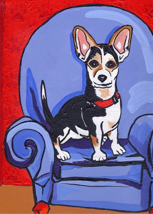 Dog Greeting Card featuring the painting Queen Lucy by Laura Brightwood