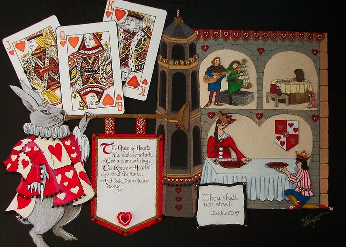 Nursery Rhyme Greeting Card featuring the painting Queen Of Hearts by Victoria Heryet