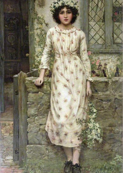 Herbert Gustave Schmalz-carmichael - Queen Of May Greeting Card featuring the painting Queen Of May by MotionAge Designs