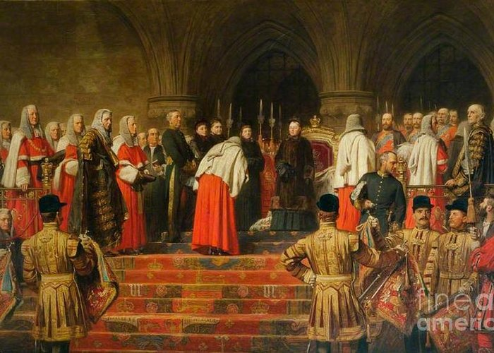 Henry Tanworth Wells - Queen Victoria Opening Of The Royal Courts Of Justice Greeting Card featuring the painting Queen Victoria Opening by MotionAge Designs