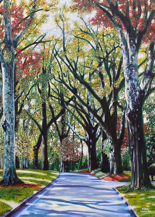 Trees Greeting Card featuring the painting Queens Road West by Jerry Kirk