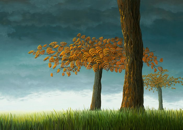 Tree Greeting Card featuring the painting Quercus Corymbion by Patricia Van Lubeck