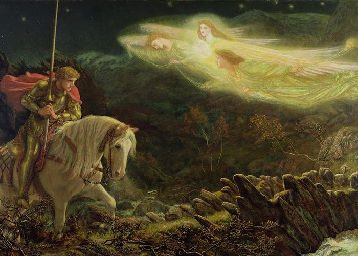 Man Greeting Card featuring the painting Quest For The Holy Grail by Arthur Hughes