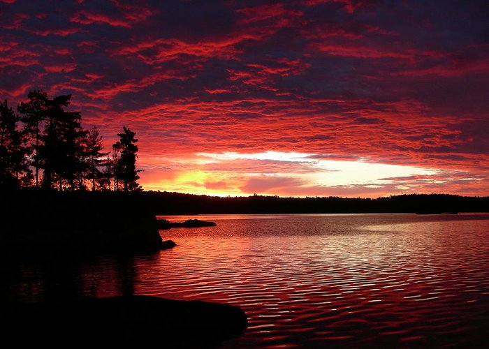 Canada Greeting Card featuring the photograph Quetico Sun Rise by Peter McIntosh