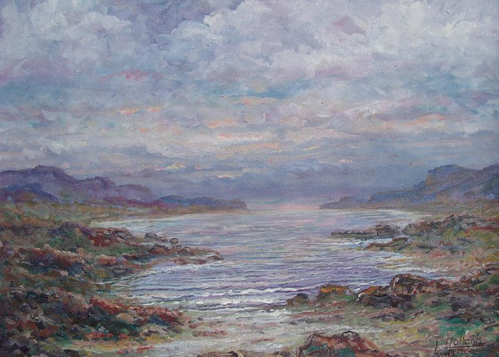 Painting Greeting Card featuring the painting Quiet Bay. by Leonard Holland