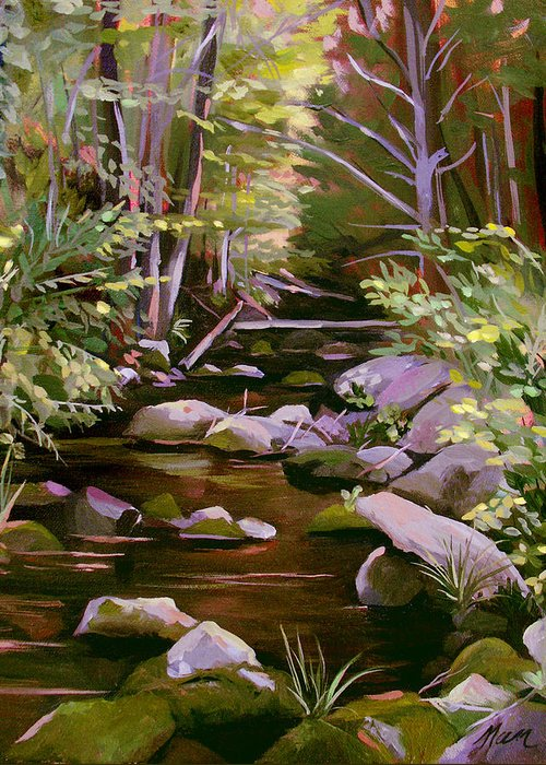 Peoples State Forest Greeting Card featuring the painting Quiet Brook by Nancy Griswold
