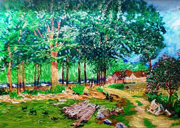 Tree Greeting Card featuring the painting Quiet Countryside by Narayan Iyer