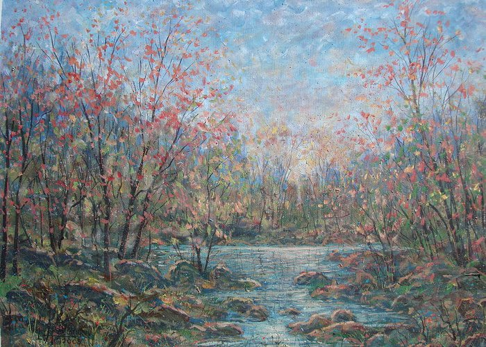 Landscape Greeting Card featuring the painting Quiet Evening. by Leonard Holland