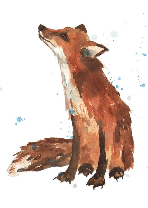 Fox Greeting Card featuring the painting Quiet Fox by Alison Fennell