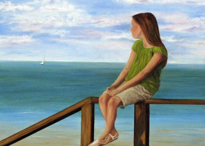 Seascape Greeting Card featuring the painting Quiet Moment by Roseann Gilmore