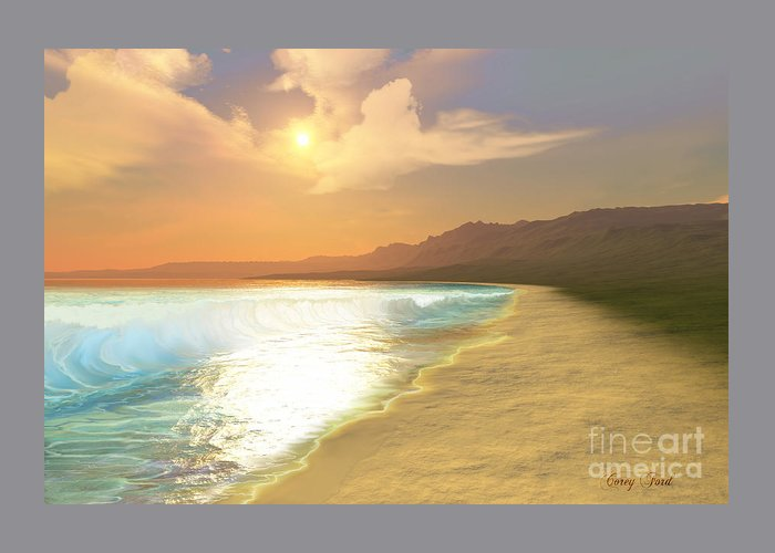 Sunset Greeting Card featuring the painting Quiet Places by Corey Ford