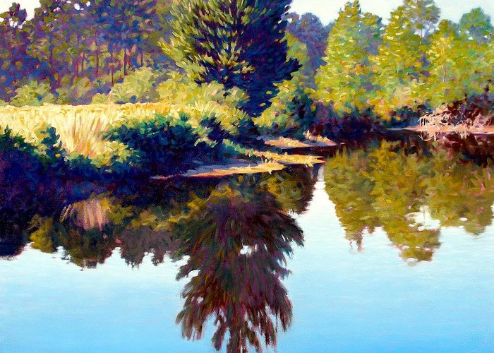 River Greeting Card featuring the painting Quiet Pond by Kevin Lawrence Leveque
