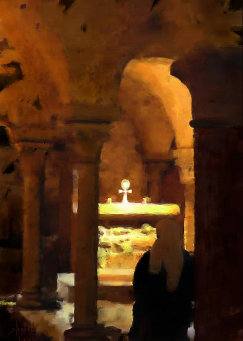 Prayer Greeting Card featuring the painting Quiet Prayers by Stephen Lucas