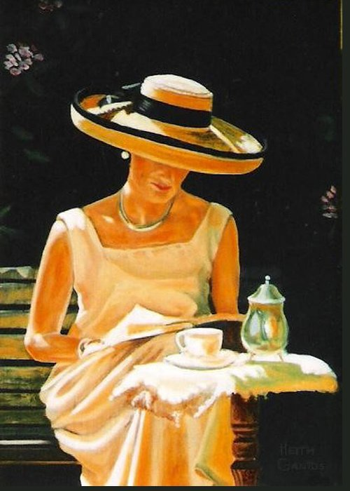 Tea Cup Greeting Card featuring the painting Quiet time by Keith Gantos