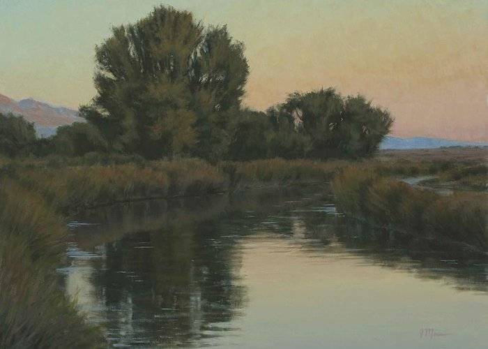 Owens River Greeting Card featuring the painting Quiet Water Morning by Joe Mancuso