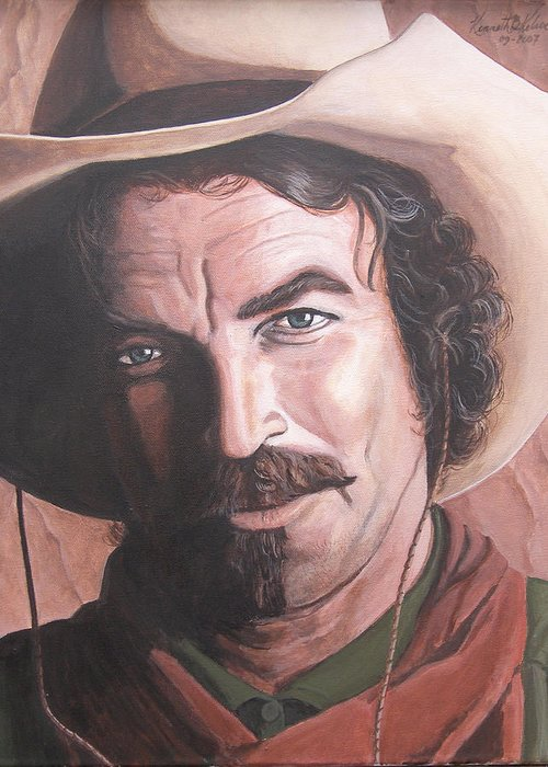 Cowboy Greeting Card featuring the painting Quigley by Kenneth Kelsoe