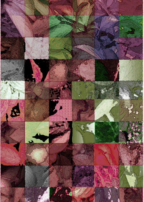 Abstract Greeting Card featuring the digital art Quilt by Tom Romeo