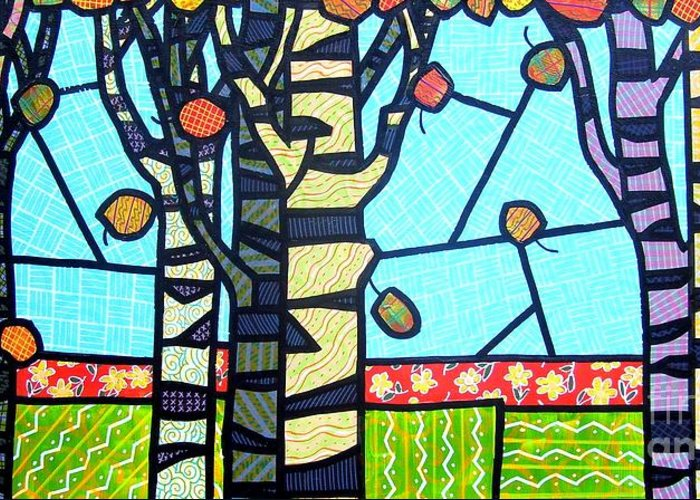 Birch Trees Greeting Card featuring the painting Quilted Birch Garden by Jim Harris
