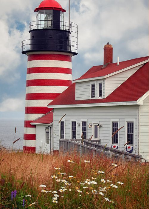 West Quoddy Lighthouse Greeting Card featuring the photograph Quoddy Lighthouse Afternoon by Brenda Giasson