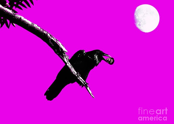 Goth Greeting Card featuring the photograph Quoth The Raven Nevermore . Magenta by Wingsdomain Art and Photography