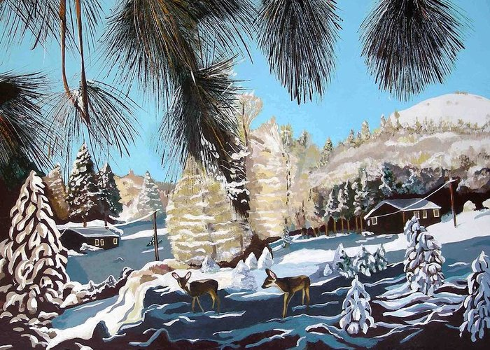 Landscape Greeting Card featuring the painting R-ranch In The Winter by Olga Kaczmar