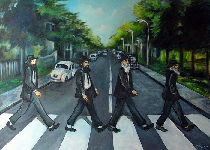 Surreal Greeting Card featuring the painting Rabbi Road by Valerie Vescovi