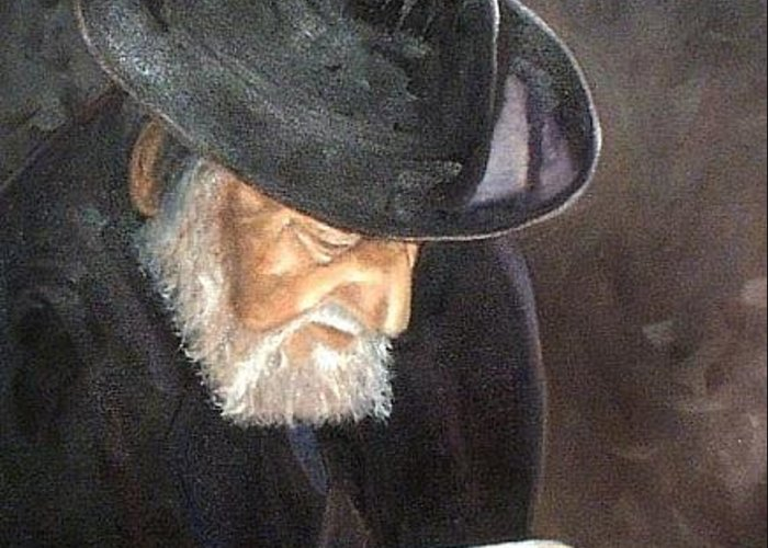 Portrait Greeting Card featuring the painting Rabbi by Toni Berry