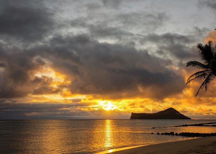 Rabbit Island Manana Kaohikaipu Makapuu Beach Sunrise Oahu Hawaii Hi Seascape Greeting Card featuring the photograph Rabbit Island Sunrise - Oahu Hawaii by Brian Harig