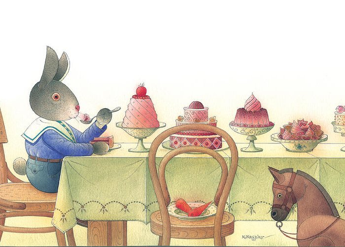 Rabbit Birthday Delicious Greeting Card featuring the painting Rabbit Marcus The Great 10 by Kestutis Kasparavicius