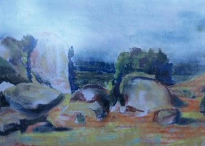 Form Of A Rabbit In The Rock At San Isabelle Greeting Card featuring the painting Rabbit Rock by Bryan Alexander