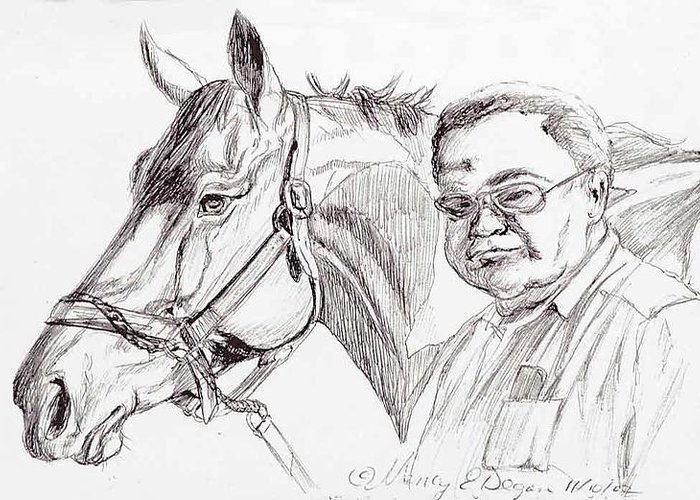 Race Horse Greeting Card featuring the drawing Race Horse And Owner by Nancy Degan