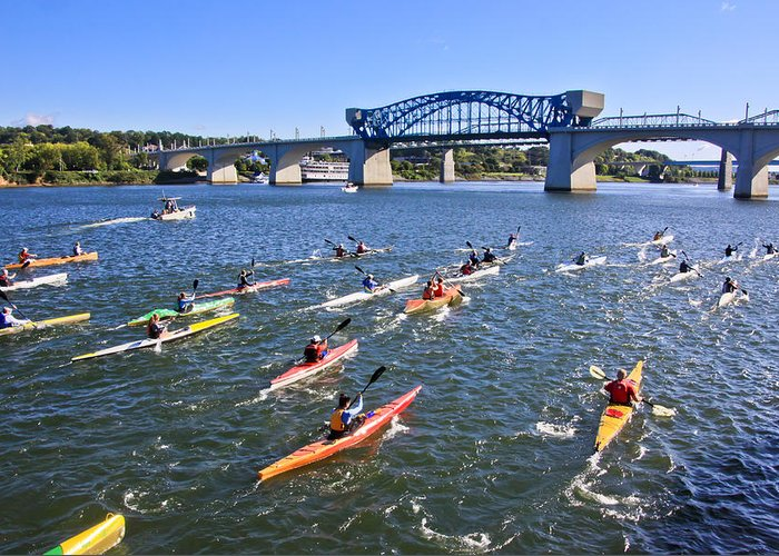 Market Street Bridge Greeting Card featuring the photograph Race On The River by Tom and Pat Cory