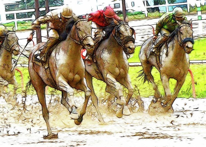Jockey Greeting Card featuring the photograph Racetrack Dreams 11 by Bob Christopher